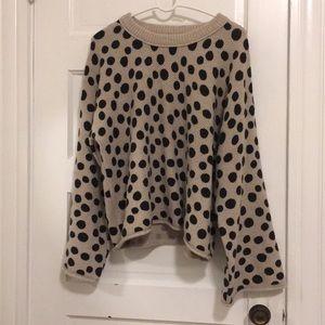 Madewell Wool blend black polka dot sweater
